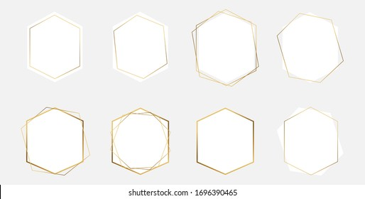 Abstract geometric hexagon frame. Set of vector gold polygonal frames. Wedding, holiday, save the date, invitation. Design template