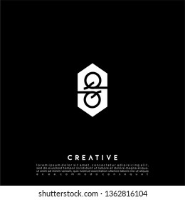 abstract geometric hexagon QQ logo letter design concept in black and white flat color