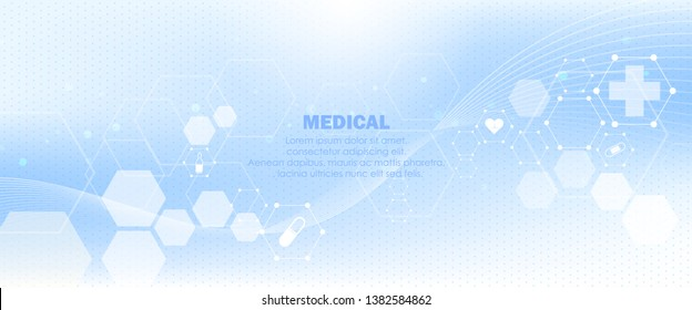Abstract geometric hexagon shape medicine and science concept background. 3d Future science technology hexagon and triangle shape. A concept hospital for wallpaper and web. Vector illustration
