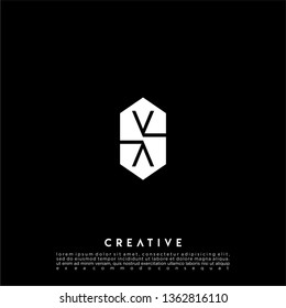 abstract geometric hexagon VV logo letter design concept in black and white flat color