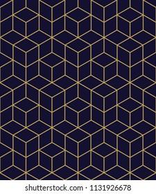 Abstract geometric  hexagonal golden graphic design print 3d cubes pattern. Vector seamless  geometric cubes pattern.