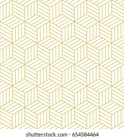 Abstract geometric  hexagonal golden graphic design print 3d cubes pattern. Vector seamless  geometric cubes pattern.