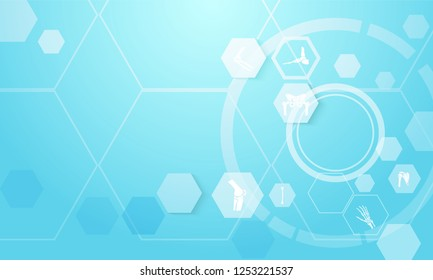 Abstract geometric hexagons Medical infographic orthopedic anatomy concept background. spine, pelvis, knee, foot, shoulder, elbow, hand, humerus bones and joints,Orthopedics. Vector illustration