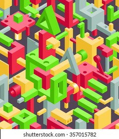 Abstract Geometric Hi-Tech Background with Colorful 3D Objects on Black. Modern Art Vector Concept. Mix of Geometric Cube Shapes in Funky Techno Style