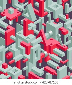 Abstract Geometric Hi-Tech Background with Gray and Red 3D Objects on Dark. Modern Art Vector Concept. Mix of Geometric Cube Shapes in Funky Techno Style