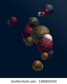 Abstract geometric illustration. 3D decorative balls.