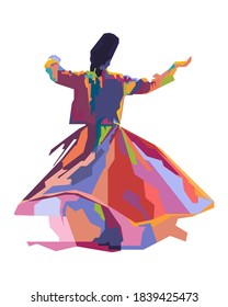 Abstract geometric illustration of sufi dance.colorful with wpap style.vector eps10-editable