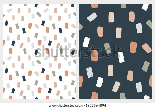 Abstract Geometric Irregular Vector Patterns with Squares. Cute Gray, Brown, Pale Green and Beige Brush Spots on a White and Dark Blue Background. Simple Hand Drawn Doodle Print.