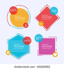 Abstract Geometric Label Design Set. Vector Illustration