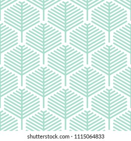 Abstract geometric leaf pattern design with lines - Seamless vector background
