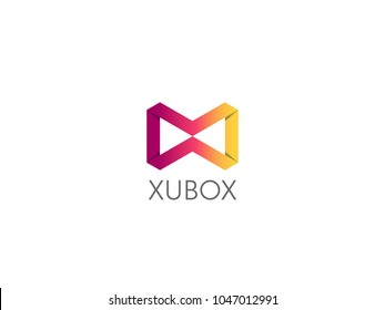 Abstract geometric letter MW WM logo template with hexagonal element object. infinite cube box shape icon symbol design for mail, corporate business, apps, data technology. Vector illustration.