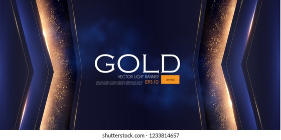 Abstract Geometric Line Background with Gold Glitter Effect. Vector illusratration