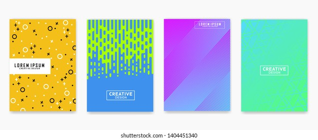 Abstract geometric line pattern background for business brochure cover design. Blue, yellow, red, orange, pink and green vector banner poster. Eps 10