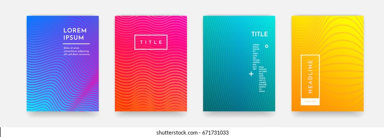 Abstract geometric line pattern background for business brochure cover design. Blue, red, orange, yellow and green vector banner poster template