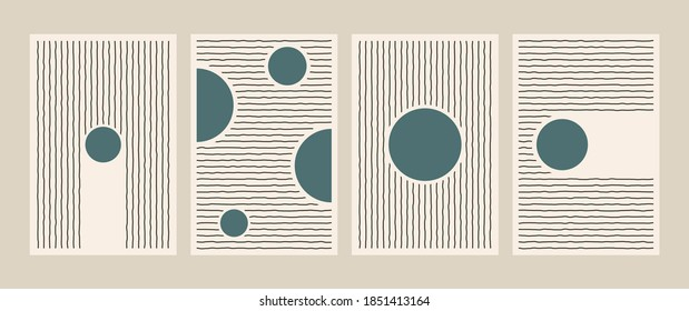 Abstract geometric line posters. Mid century art print for wall decor minimalist vintage painting set 50s style. Vector postcard illustration. - Shutterstock ID 1851413164