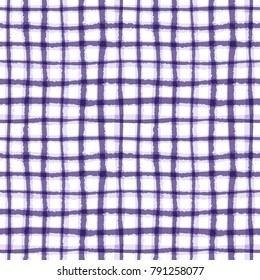 Abstract geometric lined texture. Seamless irregular plaid pattern, ultra violet tint. Watercolor vector background in trendy color. Eps 10.