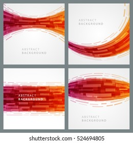 Abstract geometric lines red vector set backgrounds. Good for promotion materials, brochures, banners. Abstract Backdrop, Technology Backgrounds.