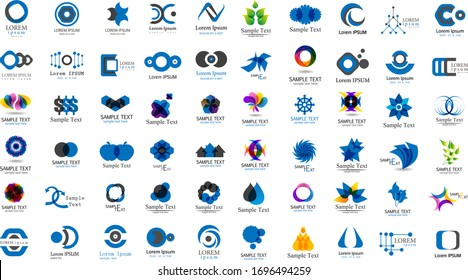 Abstract Geometric Logo And Icon Set. Elements Collection Isolated On White - Vector. Flat Icons For Business Template Logo, Square Elements, Website, Business Symbol And Circle Elements. Abstract Medical Logo
