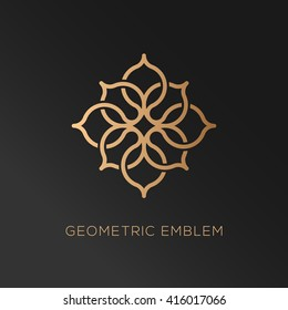 Abstract geometric logo template design in trendy linear style. Vector illustration.