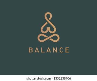 Abstract geometric logotype linear icon yoga person balance