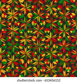 Abstract geometric low poly triangles hemp ornament vector illustration. Seamless pattern. Reggae colors gradient mosaic texture background.
