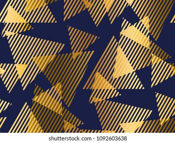 Abstract geometric luxury seamless pattern with triangle elements. Geometry vector repeatable motif for fabric, background, wrapping paper. gold and blue backdrop.