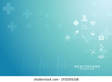 Abstract geometric medical background with flat icons and symbols. Template design with concept and idea for healthcare  technology, innovation medicine, healthcare, science. Vector illustration.