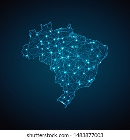 Abstract geometric mesh polygonal light Brazil map. Business wireframe mesh spheres from flying debris. Blue structure style vector illustration concept.