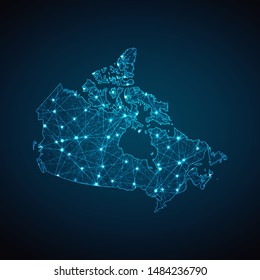 Abstract geometric mesh polygonal light Canada map. Business wireframe mesh spheres from flying debris. Blue structure style vector illustration concept.