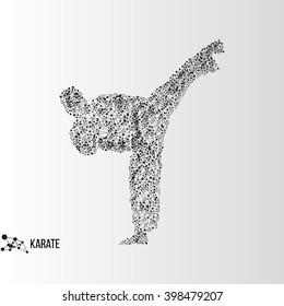 Abstract geometric molecule polygonal karate man silhouette isolated on gradient background