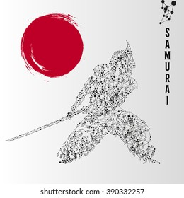 Abstract geometric molecule polygonal samurai silhouette with red blood sun flag isolated on gradient background