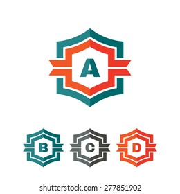 Abstract geometric monogram vector logo concept illustration. Letter A, B, C, D. Design element.