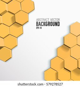 Abstract geometric mosaic design background with light orange 3d hexagons vector illustration