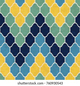 Abstract geometric mosaic pattern, marbled tiles in Moroccan style, textured seamless vector illustration