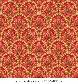 abstract Geometric mughal motif flower pattern