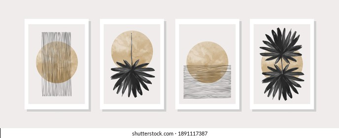 Abstract geometric, natural shapes poster set in mid century style. Modern illustration: tropical palm leaf, geo elements for minimalist print, poster, boho wall decor, flat design Vector minimal art