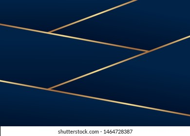 Abstract geometric navy blue background with golden lines.