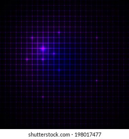Abstract geometric neon pixel grid background with sparkles. Vector illustration.