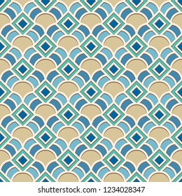 Abstract geometric ornament in Arabic style, vector seamless pattern