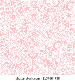 Abstract geometric pale pink and white seamless pattern