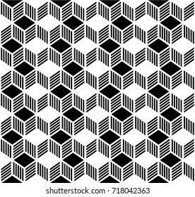 Abstract geometric pattern for background, fabric and textile, in vector and black color.