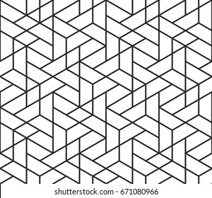 Abstract geometric pattern background with hexagonal and triangular texture. Black and white seamless grid lines. Simple minimalistic pattern