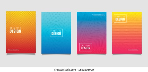 Abstract geometric pattern background with line texture for business brochure cover design. Gradient Pink, orange, purple, blue and green vector banner poster template.