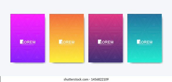 Abstract geometric pattern background with lines texture. Modern colorful abstract gradient pattern background for poster cover design web brochure leaflet flyer banner. Wave shapes bright gradient.