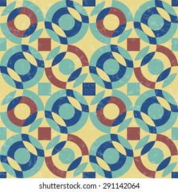 abstract geometric pattern with circles in modern colors, textured seamless vector illustration