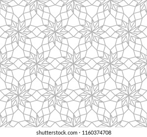 Abstract geometric pattern with crossing grey lines on white background. Seamless linear rapport. Stylish fractal texture. Pattern to fill the background. Islamic pattern. Girih background