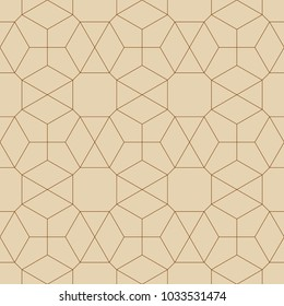 Abstract geometric pattern with crossing thin golden lines on white background. Seamless linear rapport. Stylish fractal texture. Vector pattern to fill the background, laser engraving and cutting