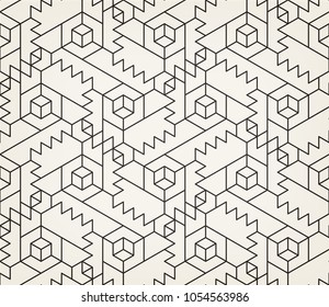 Abstract geometric pattern with crossing thin lines on light background. Seamless linear rapport. Stylish fractal texture. Vector pattern to fill the background, laser engraving and cutting.
