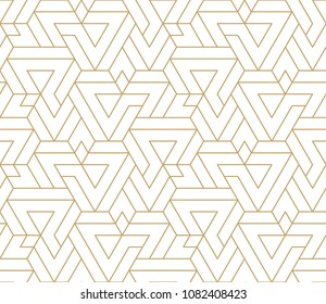 Abstract geometric pattern with crossing thin golden lines on white background. Seamless linear rapport. Stylish fractal texture. Vector rapport to fill the background, laser engraving and cutting.