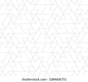 Abstract geometric pattern with crossing thin lines and polygons. Seamless linear rapport. Stylish fractal texture. Vector pattern to fill the background, laser engraving and cutting.